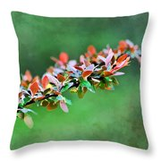 Spring Raindrops On Leaves - Digital Paint Throw Pillow
