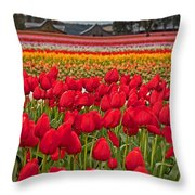 Springtime Tulip Field Art Prints Throw Pillow