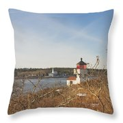Squirrel Point Lighthouse Kennebec River Maine Throw Pillow