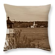 Squirrel Point Lighthouse Throw Pillow by Skip Willits