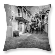 St George Street St Augustine Florida Painted Bw Throw Pillow