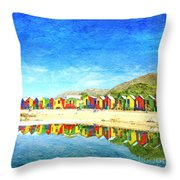 St James Beach Huts South Africa Throw Pillow