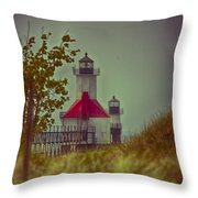 St. Joseph North Pier Lighthouse Lake Michigan. Throw Pillow