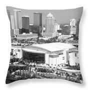 St. Pete Times Forum And Tampa Skyline Throw Pillow