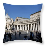 St Peter's Square. Vatican City. Rome. Lazio. Italy. Europe Throw Pillow
