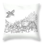 Stagecoach Robbery Throw Pillow