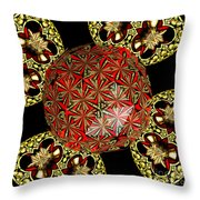 Stained Glass Kaleidoscope Under Glass Throw Pillow