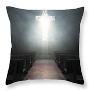 Stained Glass Window Crucifix Church Throw Pillow
