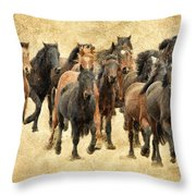 Stampede Of Wild Horses Throw Pillow