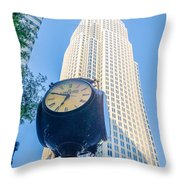 Standing By The Clock On City Intersection At Charlotte Downtown Throw Pillow