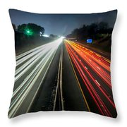 Standing In Car On Side Of The Road At Night In The City Throw Pillow