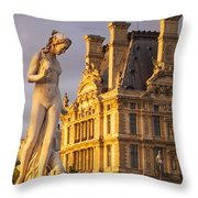 Statue Below Musee Du Louvre Throw Pillow