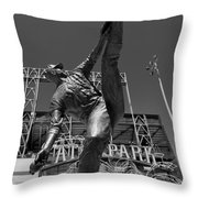 Statue Of Juan Marichal Outside Atandt Park San Francisco Throw Pillow