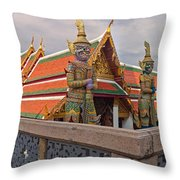 Statues At A Temple, Wat Phra Kaeo Throw Pillow