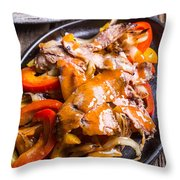 Steak Fajitas Throw Pillow