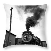 Steam Engine 3254 Black And White Throw Pillow