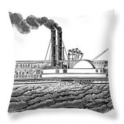 Steamboat, 19th Century Throw Pillow