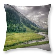 storm clouds over mountains of ladakh Jammu and Kashmir India Throw Pillow