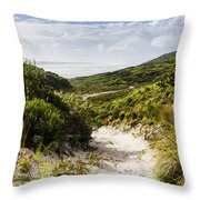 Strahan Coast Landscape Winding To The Ocean Throw Pillow
