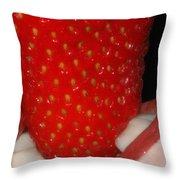 Strawberry Lips Throw Pillow by Joann Vitali