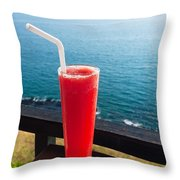 Strawberry Smoothie Soda Throw Pillow
