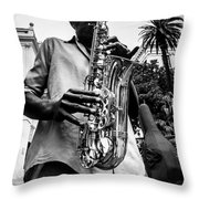 Street Jazz On Display 2 Throw Pillow by Andy Crawford