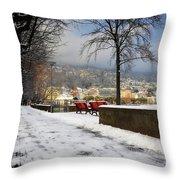 Street With Snow Throw Pillow