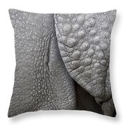 Structure Of The Skin Of An Indian Rhinoceros In A Zoo In The Netherlands Throw Pillow