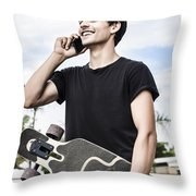 Student Talking To A Friend On Mobile Smartphone Throw Pillow
