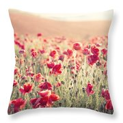 Stunning Poppy Field Landscape Under Summer Sunset Sky With Cros Throw Pillow