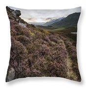 Stunning Sunrise Panorama Landscape Of Heather With Mountain Lak Throw Pillow