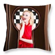 Stylish Surprised Women Portrait. Pinup Secret Throw Pillow