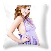 Stylish Woman In Purple Dress Throw Pillow