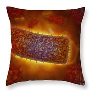Stylized Rabies Virus Particles Throw Pillow by Stocktrek Images