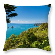 Subtropical Forest Of Abel Tasman Np In New Zealand Throw Pillow