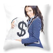 Successful Business Woman Holding Bags Of Money Throw Pillow