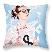 Successful Female Business Superhero Winning Money Throw Pillow