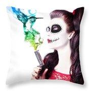 Sugar Skull Girl Blowing On Smoking Gun Throw Pillow