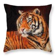 Sumatran Tiger Throw Pillow by David Stribbling