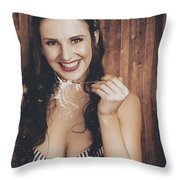 Summer Cafe Woman Eating Breakfast Cereal Throw Pillow