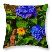 Summer Flower Garden Throw Pillow