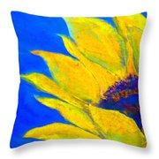 Sunflower In Blue Throw Pillow