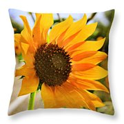 Sunflower With Texture Throw Pillow