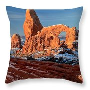 Sunrise At Turret Arch Throw Pillow