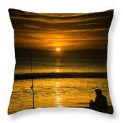 Sunrise Fishing Throw Pillow