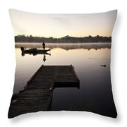 Sunrise In Fog Lake Cassidy With Fisherman In Small Fishing Boat Throw Pillow