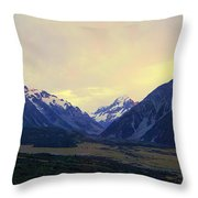 Sunrise On Aoraki Mount Cook In New Zealand Throw Pillow