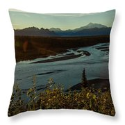 Sunrise On Mnt Denali, Trapper Creek Throw Pillow