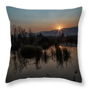 Sunrise Over The Beaver Pond Throw Pillow