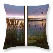 Sunset At Fort Smallwood Throw Pillow